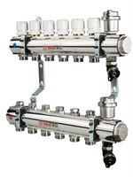 Коллектор латунный с термостатическими и балансировочными клапанами