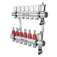 Коллектор латунный с термостатическими и балансировочными клапанами 2